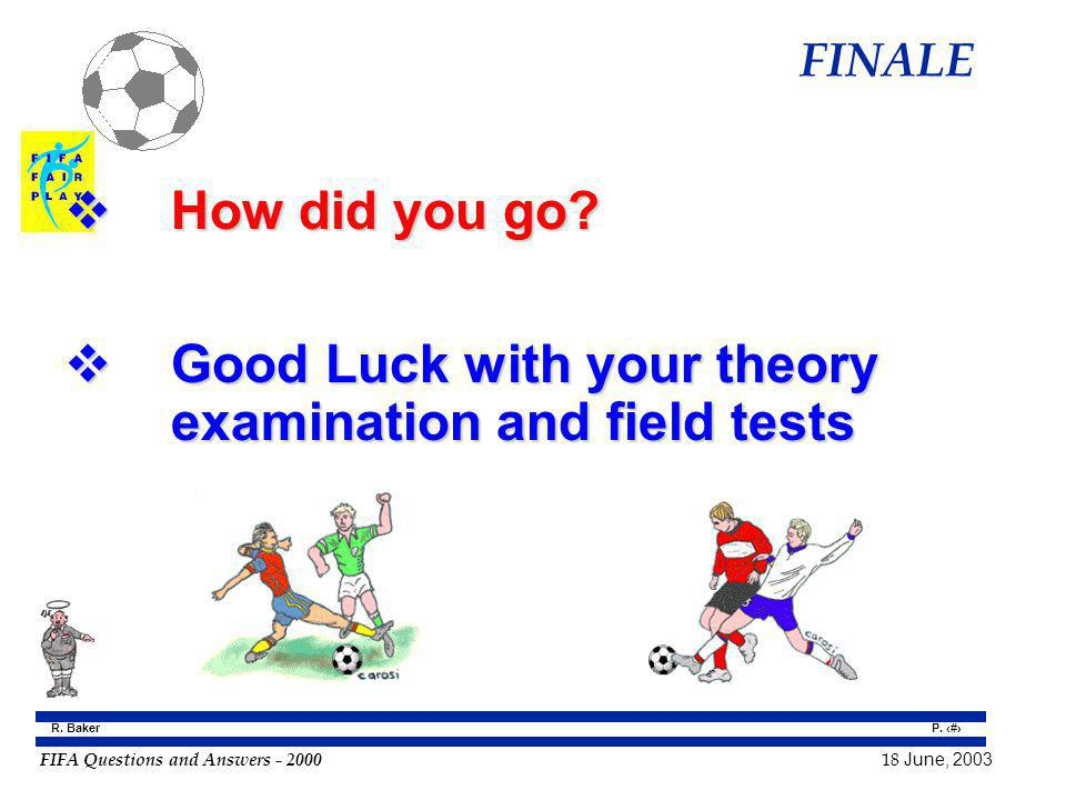 Good Luck with your theory examination and field tests