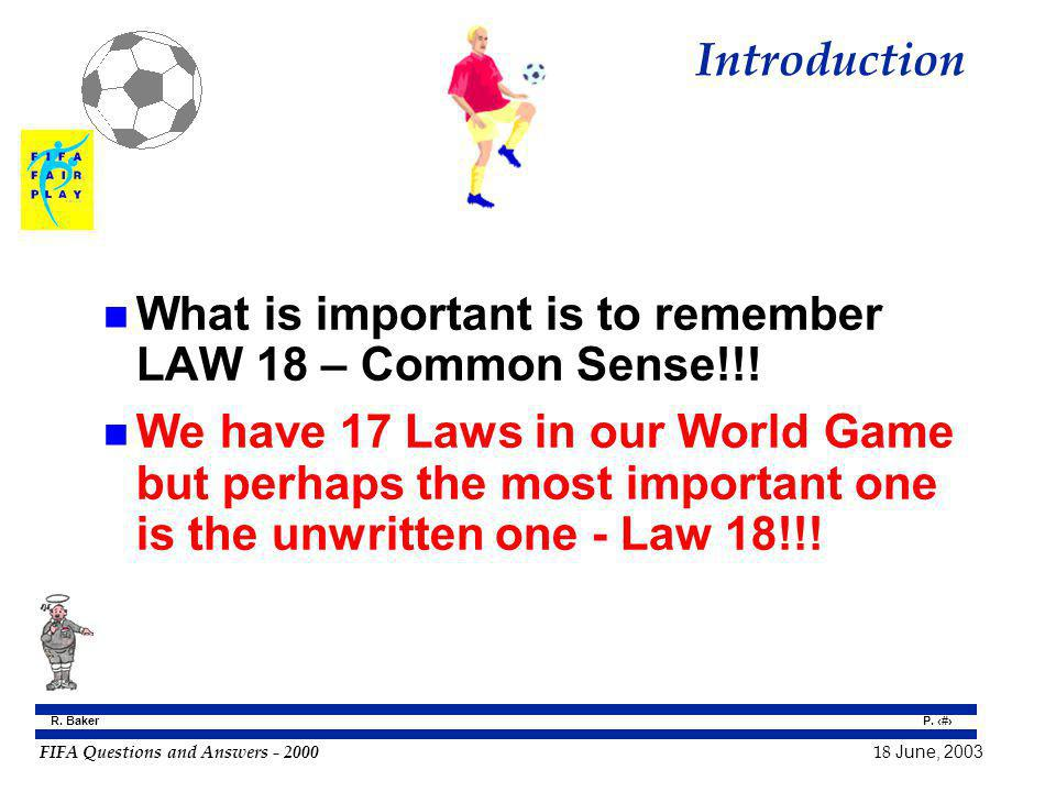 Introduction What is important is to remember LAW 18 – Common Sense!!!
