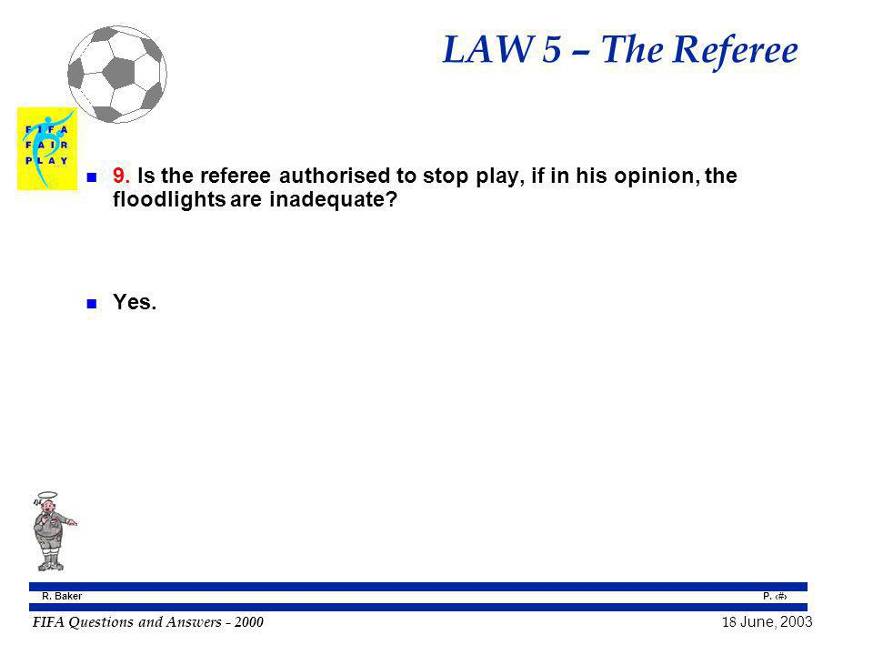 LAW 5 – The Referee 9. Is the referee authorised to stop play, if in his opinion, the floodlights are inadequate