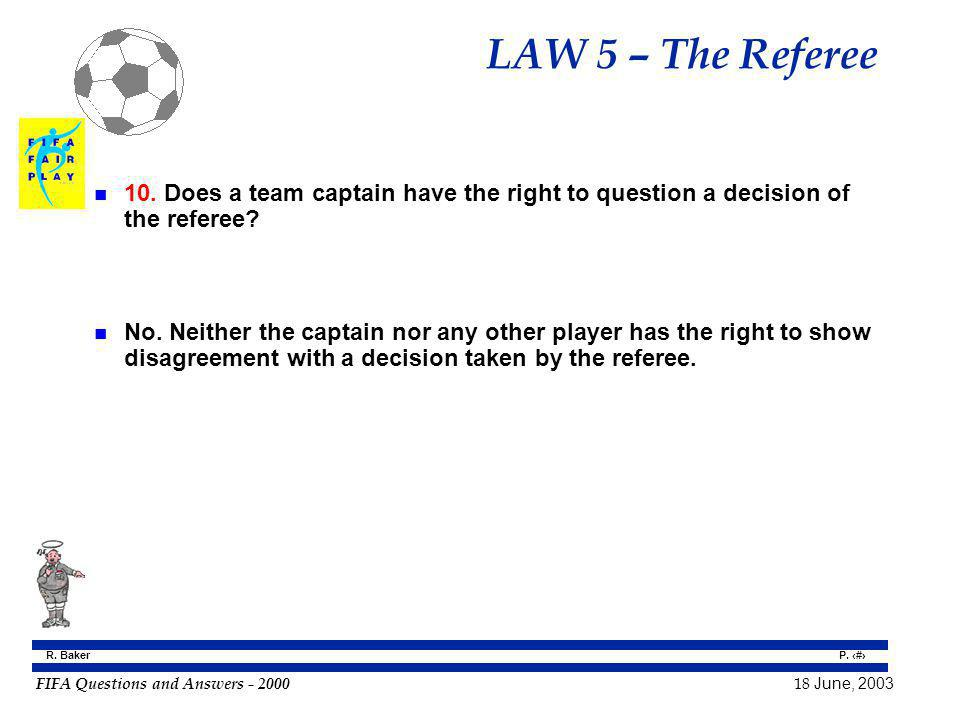 LAW 5 – The Referee 10. Does a team captain have the right to question a decision of the referee