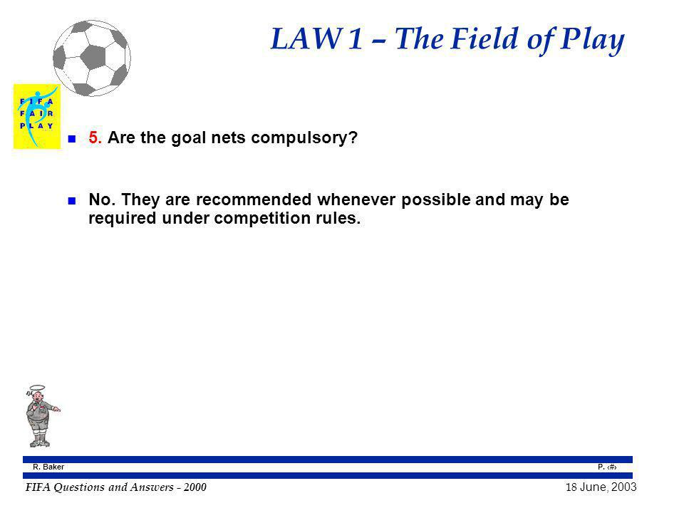 LAW 1 – The Field of Play 5. Are the goal nets compulsory
