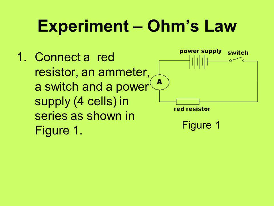 Experiment – Ohm's Law Connect a red resistor, an ammeter, a switch and a power supply (4 cells) in series as shown in Figure 1.