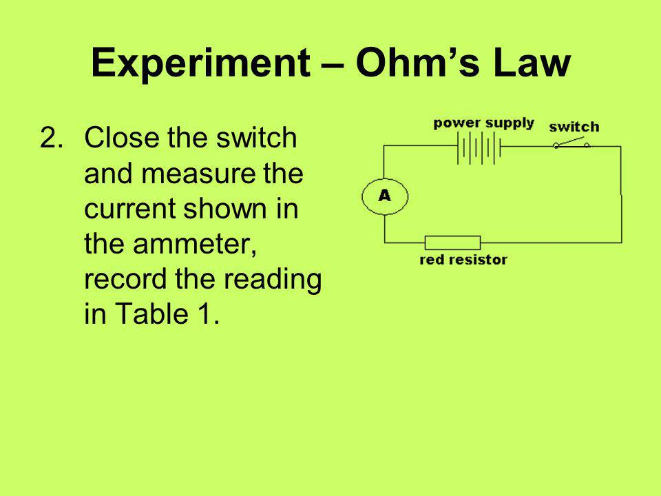 Experiment – Ohm's Law 2. Close the switch and measure the current shown in the ammeter, record the reading in Table 1.