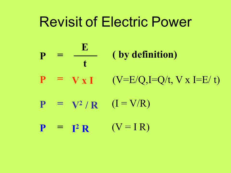 Revisit of Electric Power