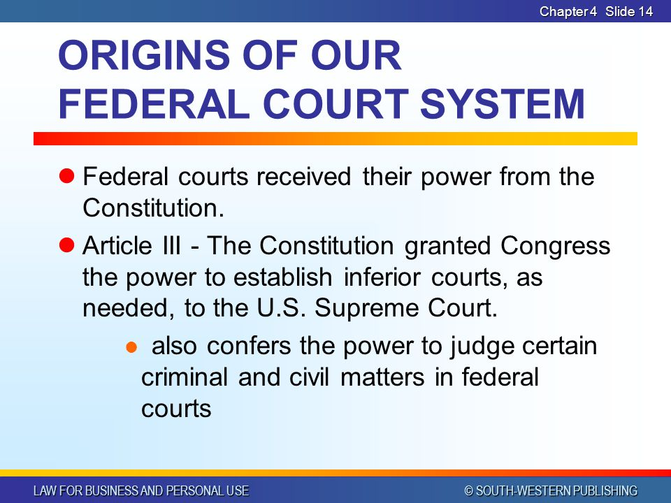 ORIGINS OF OUR FEDERAL COURT SYSTEM