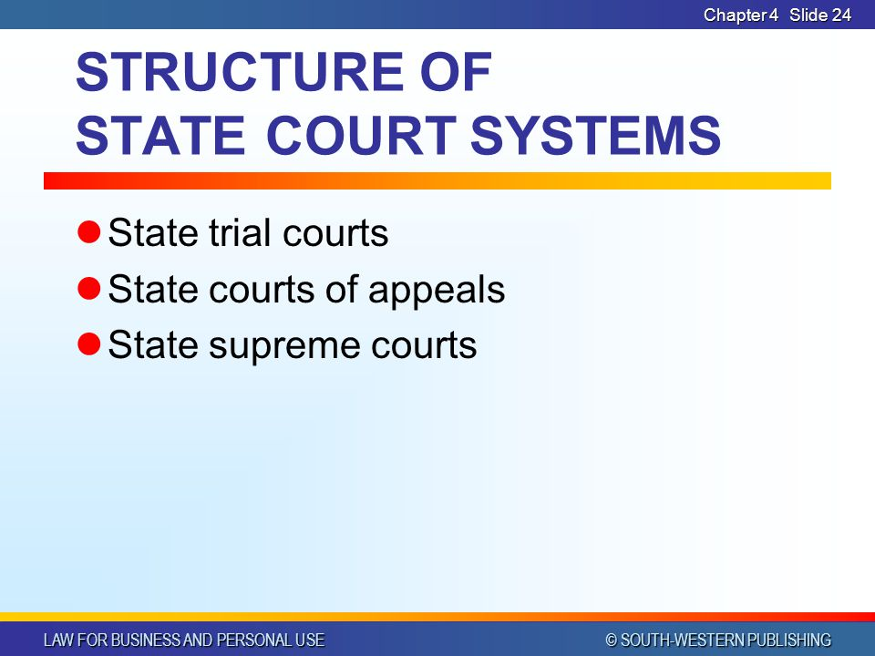STRUCTURE OF STATE COURT SYSTEMS