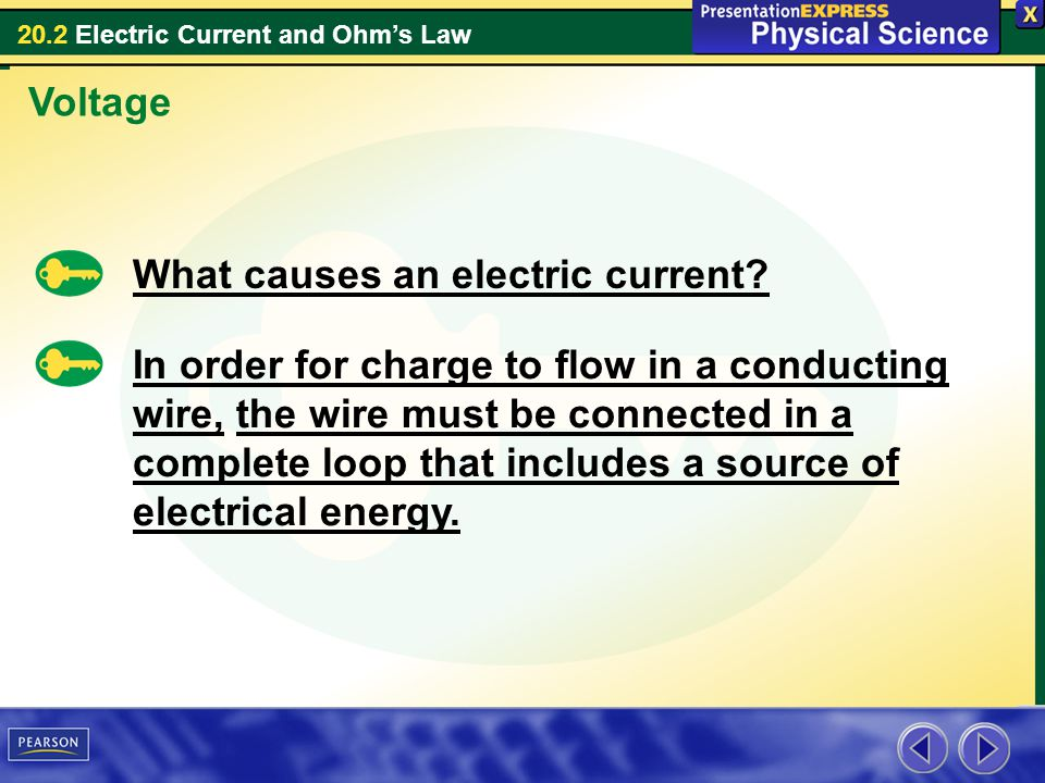 Voltage What causes an electric current