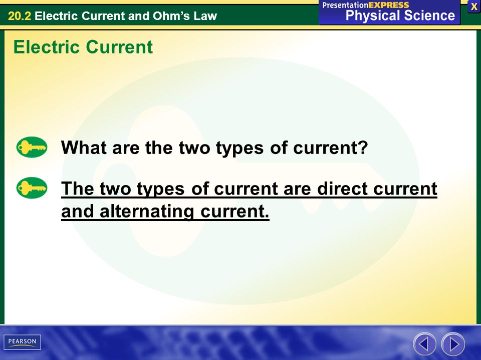 Electric Current What are the two types of current.