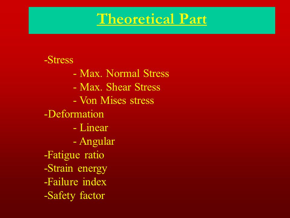 Theoretical Part -Stress - Max. Normal Stress - Max. Shear Stress