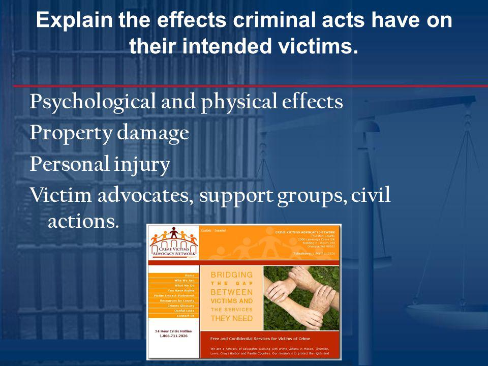 Explain the effects criminal acts have on their intended victims.
