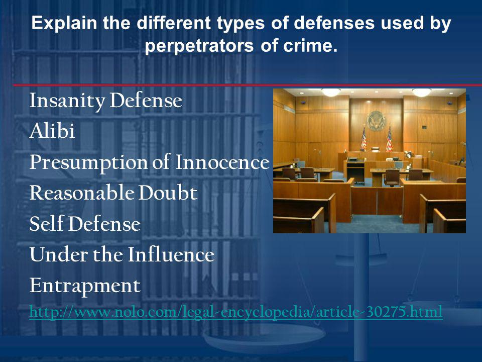 Explain the different types of defenses used by perpetrators of crime.