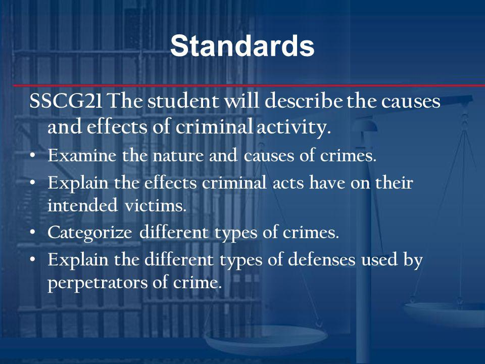Standards SSCG21 The student will describe the causes and effects of criminal activity. Examine the nature and causes of crimes.