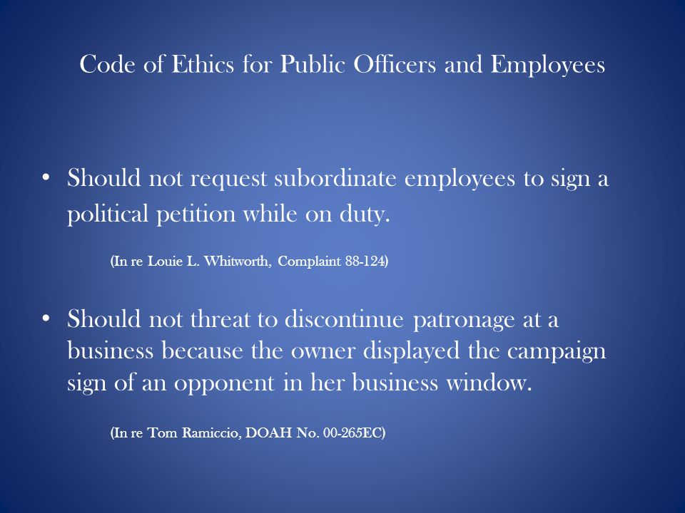 Code of Ethics for Public Officers and Employees