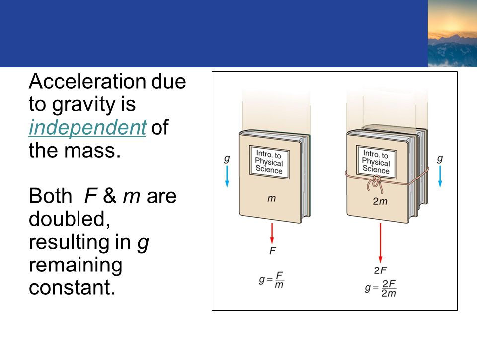 Acceleration due to gravity is independent of the mass