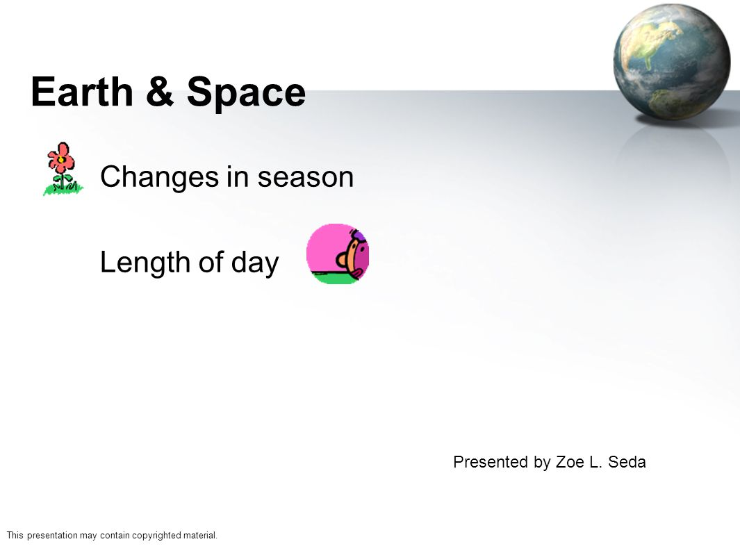 Changes in season Length of day