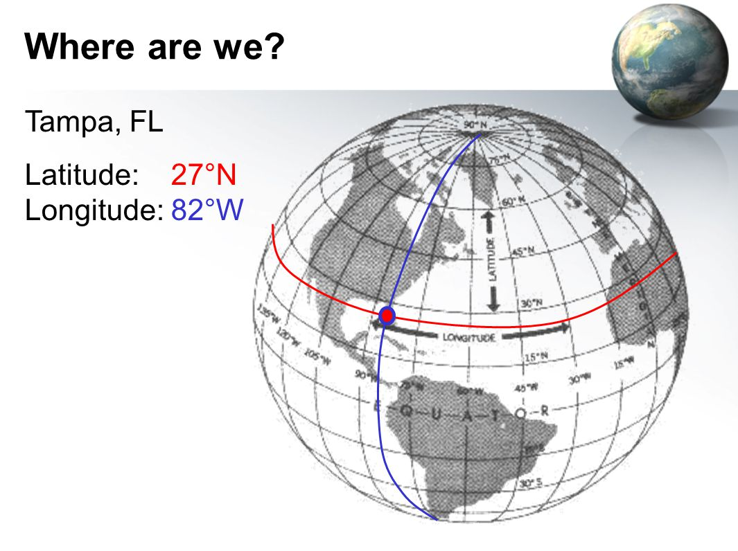 Where are we Tampa, FL Latitude: 27°N Longitude: 82°W