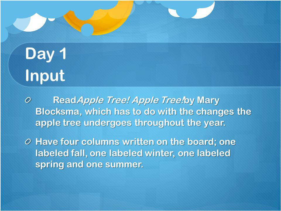 Day 1 Input ReadApple Tree! Apple Tree!by Mary Blocksma, which has to do with the changes the apple tree undergoes throughout the year.