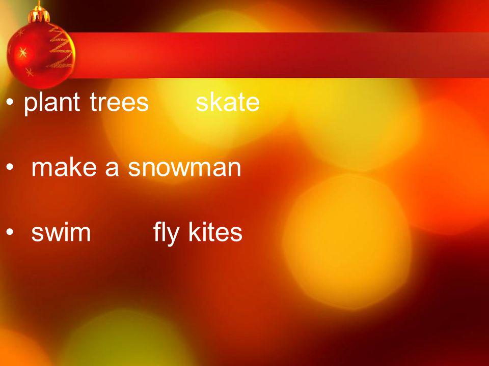 plant trees skate make a snowman swim fly kites