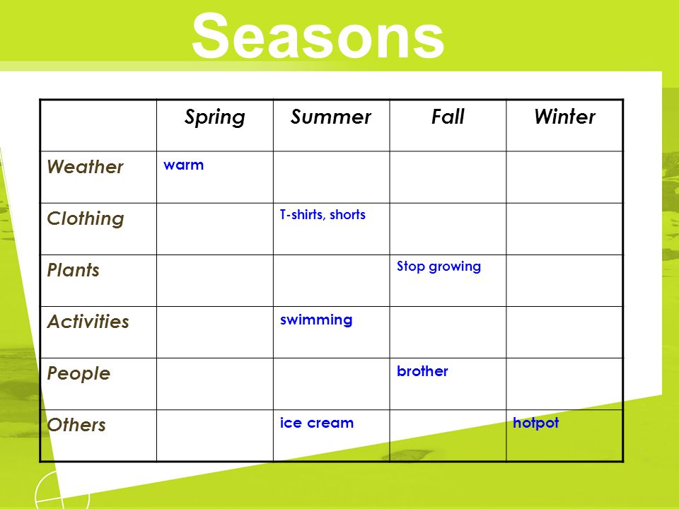 Seasons Spring Summer Fall Winter Weather Clothing Plants Activities