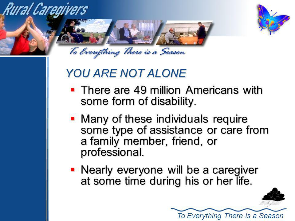 YOU ARE NOT ALONE There are 49 million Americans with some form of disability.