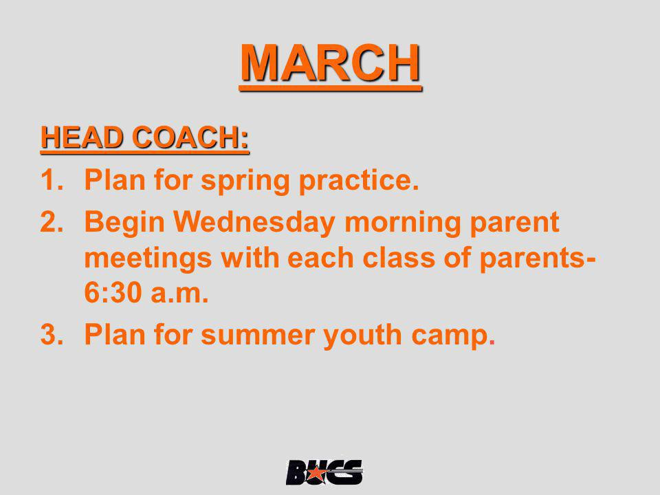 MARCH HEAD COACH: Plan for spring practice.