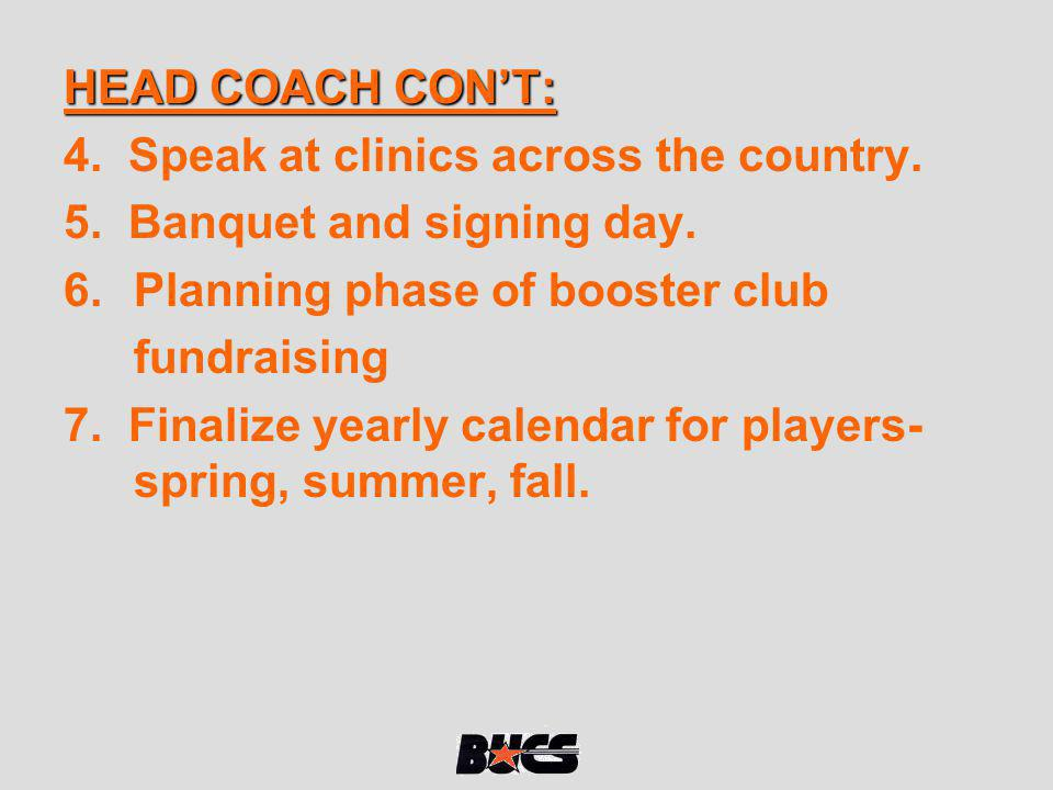 HEAD COACH CON'T: 4. Speak at clinics across the country. 5. Banquet and signing day. Planning phase of booster club.