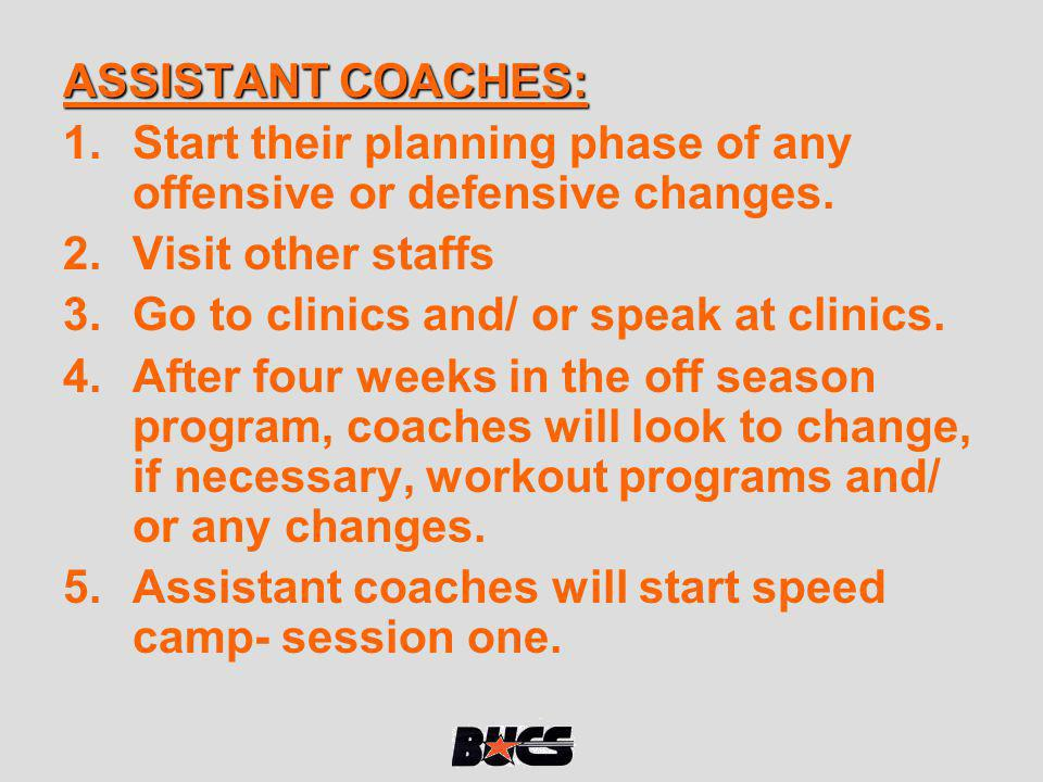 ASSISTANT COACHES: Start their planning phase of any offensive or defensive changes. Visit other staffs.