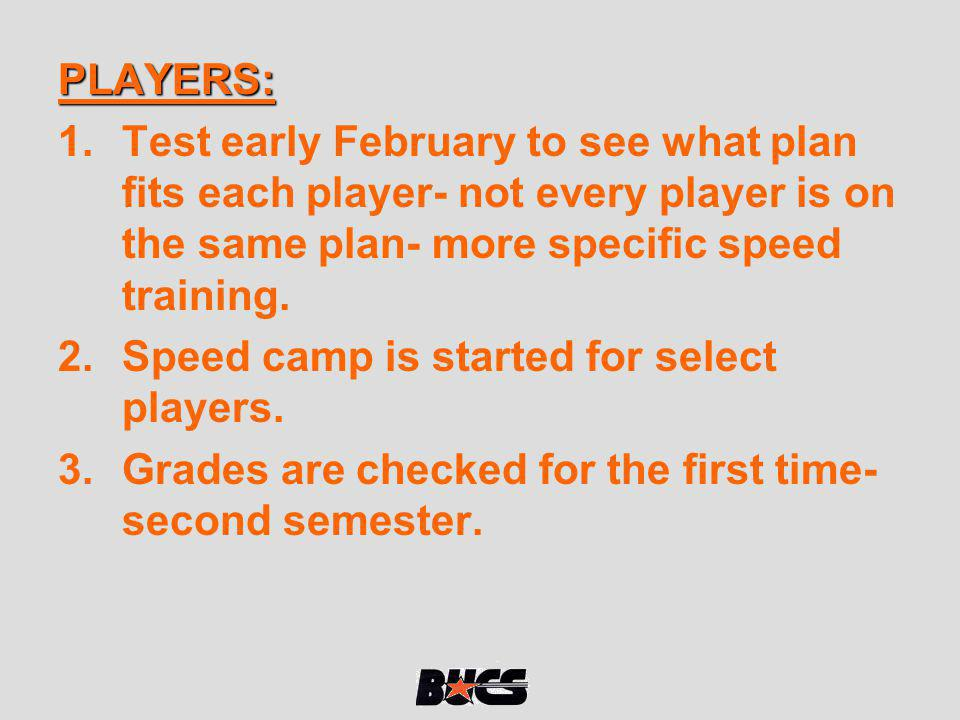 PLAYERS: Test early February to see what plan fits each player- not every player is on the same plan- more specific speed training.