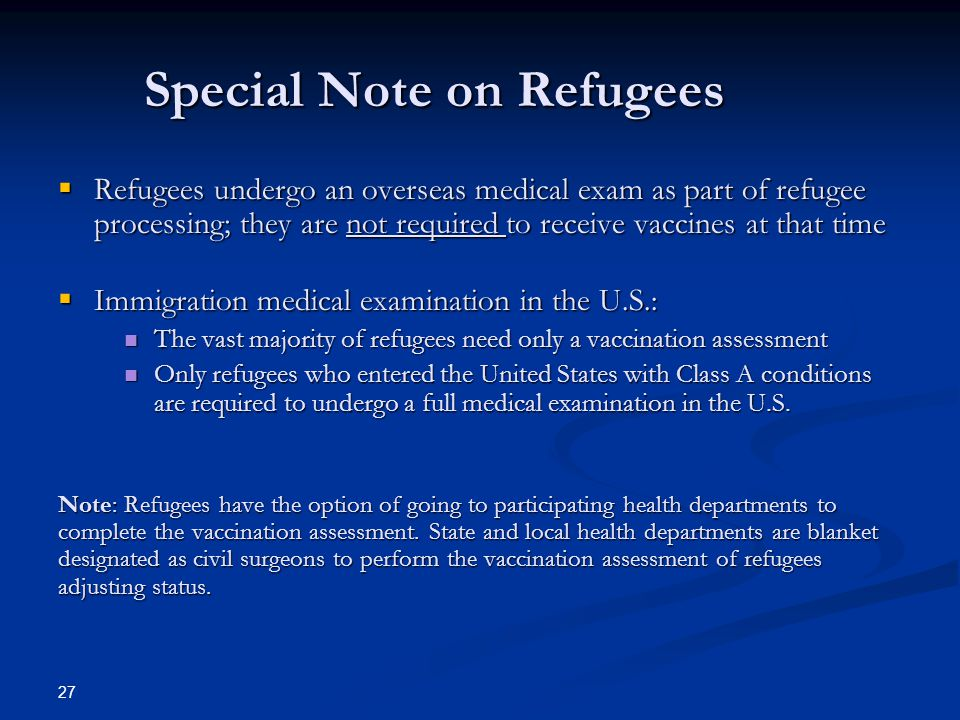 Special Note on Refugees
