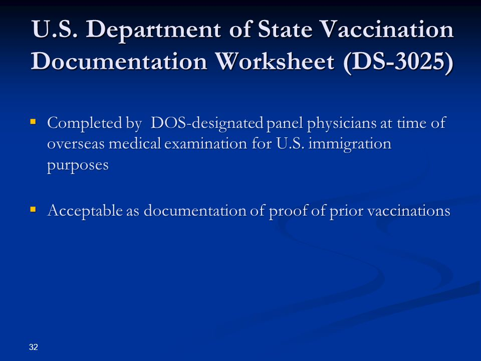 U.S. Department of State Vaccination Documentation Worksheet (DS-3025)