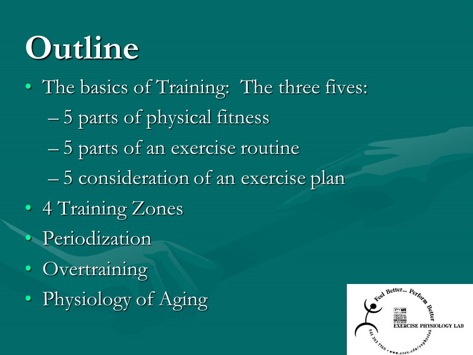 Outline The basics of Training: The three fives:
