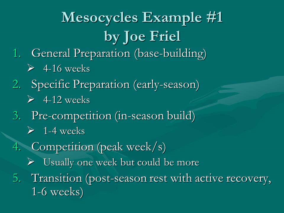 Mesocycles Example #1 by Joe Friel