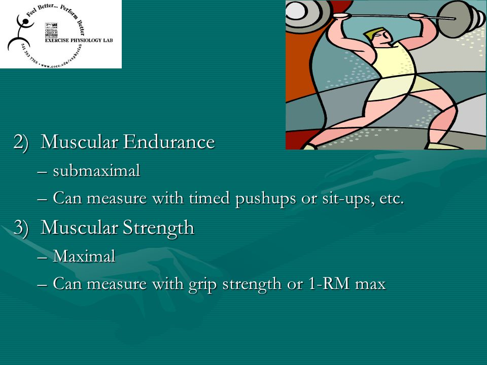 2) Muscular Endurance 3) Muscular Strength submaximal