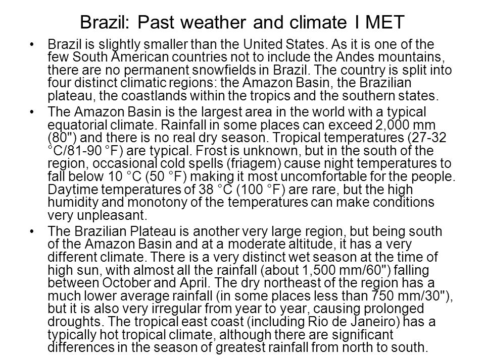 Brazil: Past weather and climate I MET