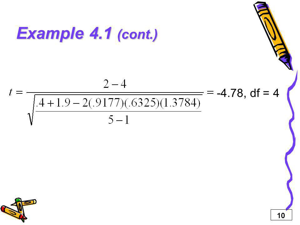 Example 4.1 (cont.) -4.78, df = 4