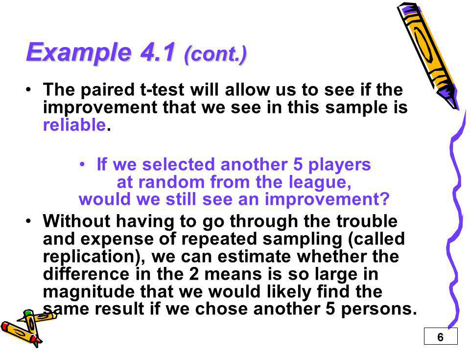 Example 4.1 (cont.) The paired t-test will allow us to see if the improvement that we see in this sample is reliable.