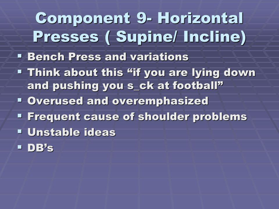 Component 9- Horizontal Presses ( Supine/ Incline)