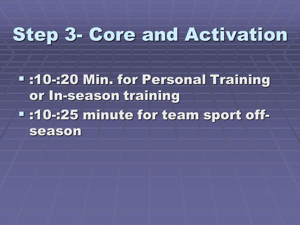 Step 3- Core and Activation