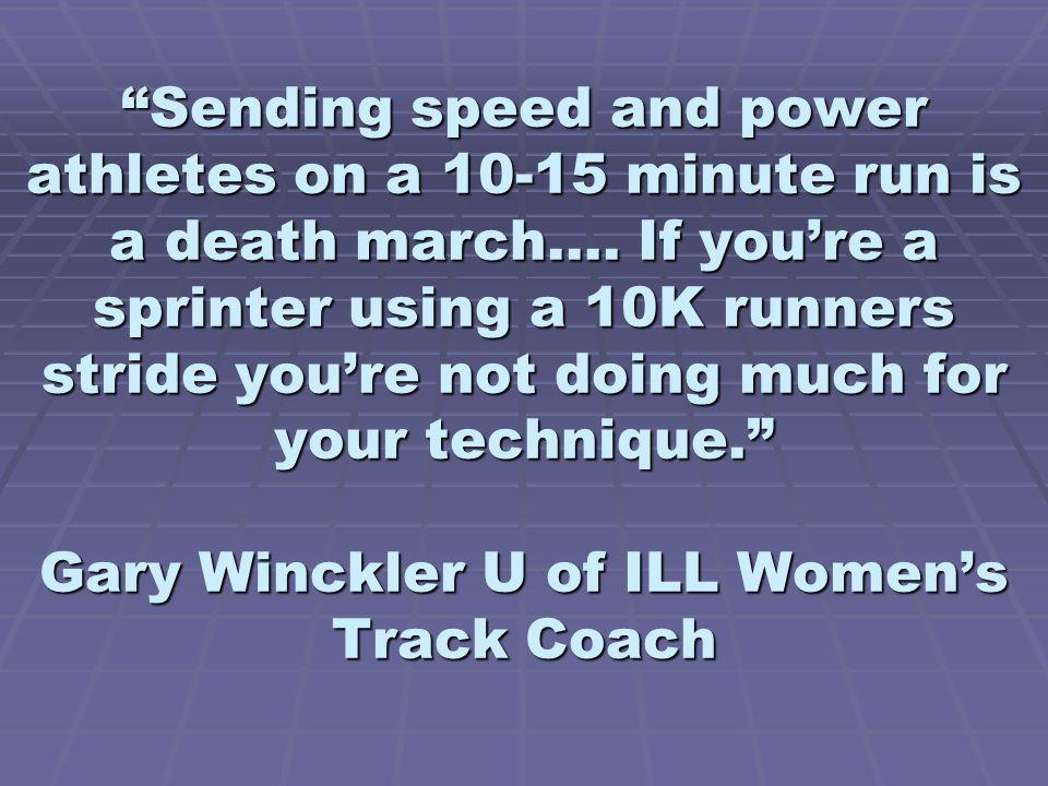 Sending speed and power athletes on a 10-15 minute run is a death march….