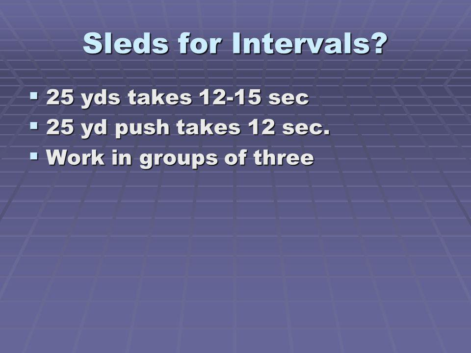 Sleds for Intervals 25 yds takes 12-15 sec 25 yd push takes 12 sec.