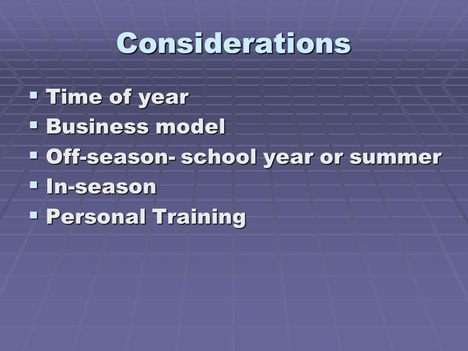 Considerations Time of year Business model