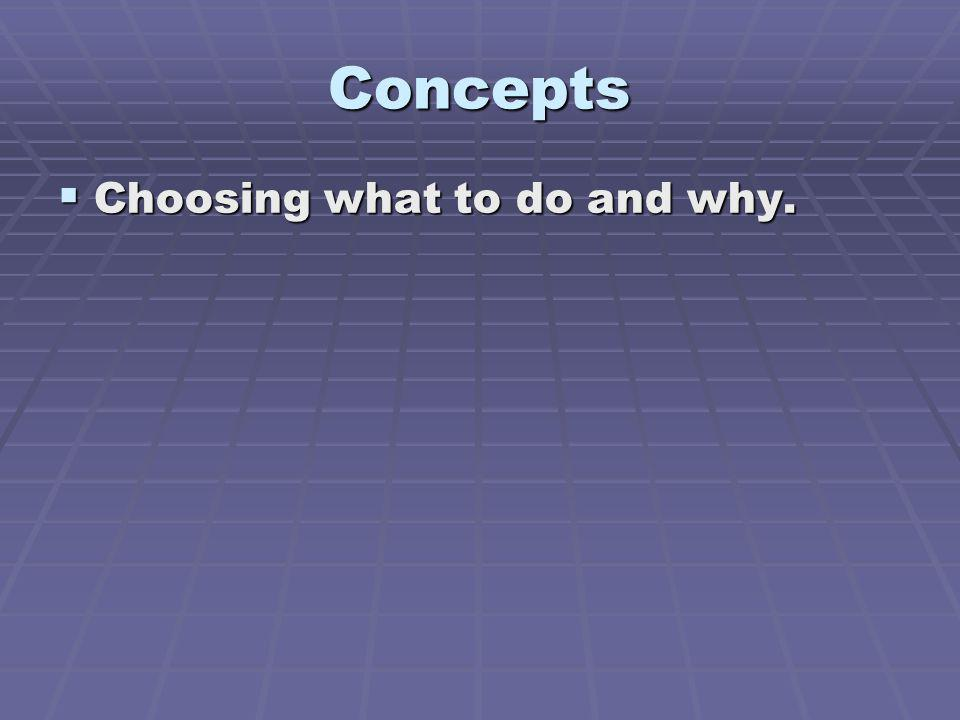 Concepts Choosing what to do and why.