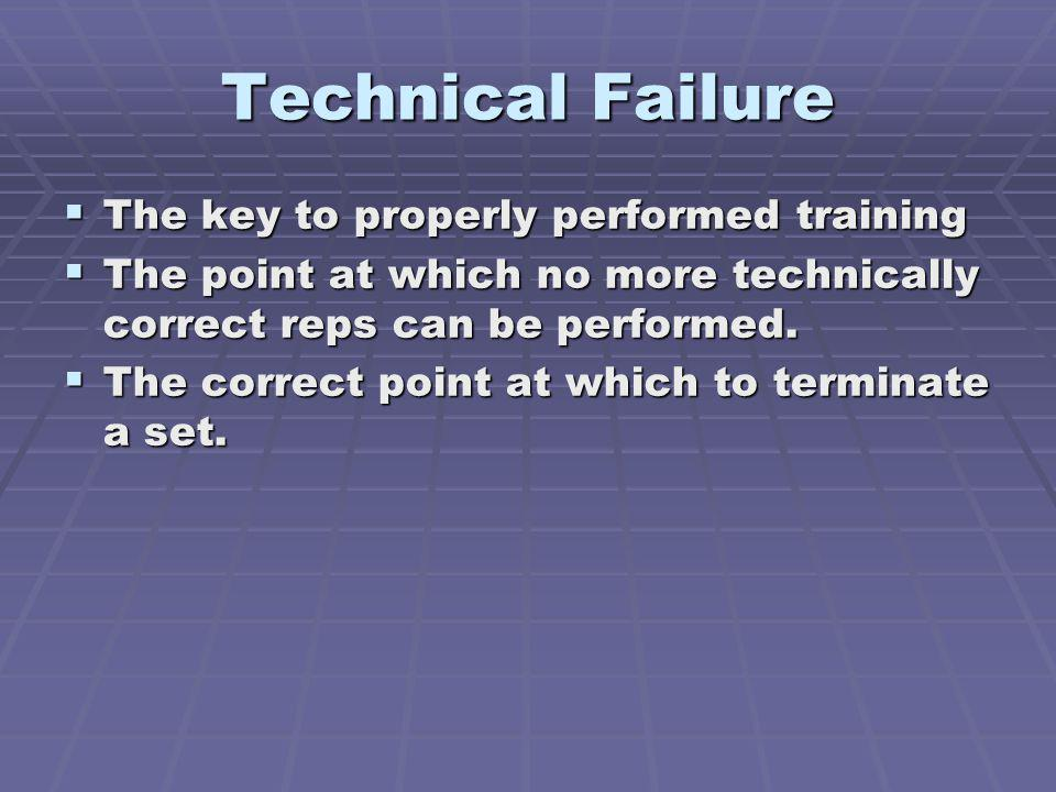 Technical Failure The key to properly performed training