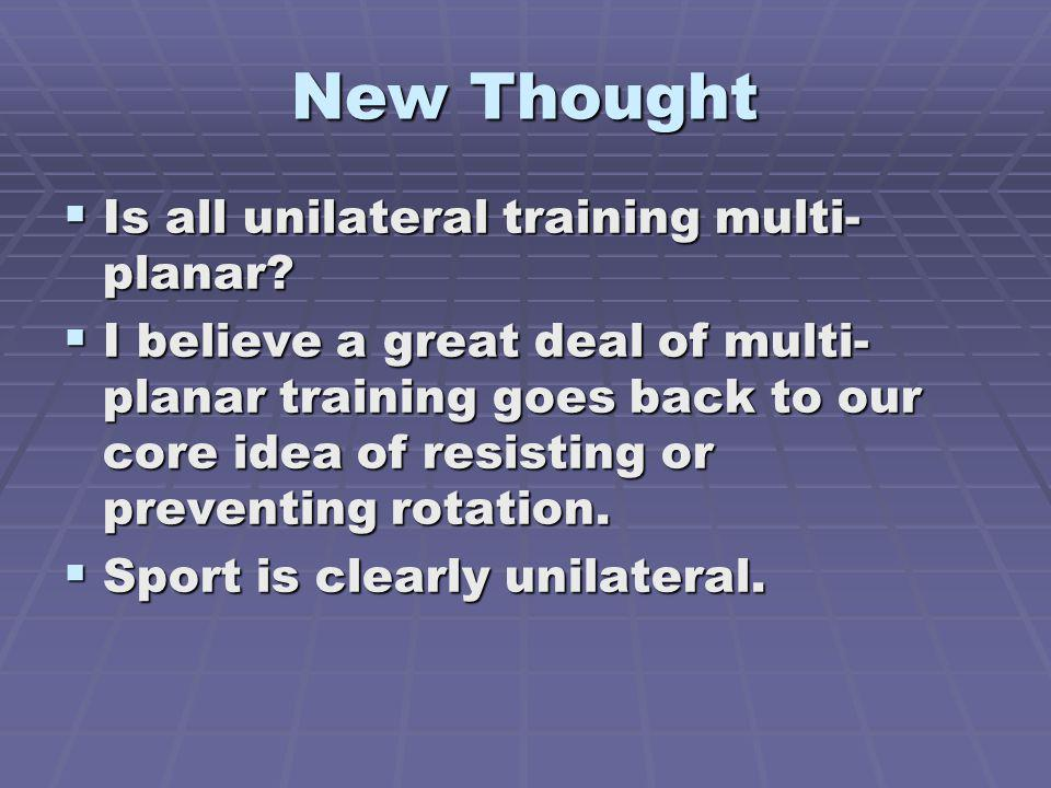 New Thought Is all unilateral training multi-planar