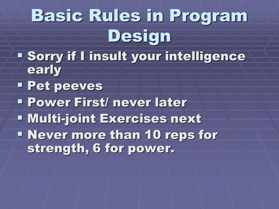 Basic Rules in Program Design
