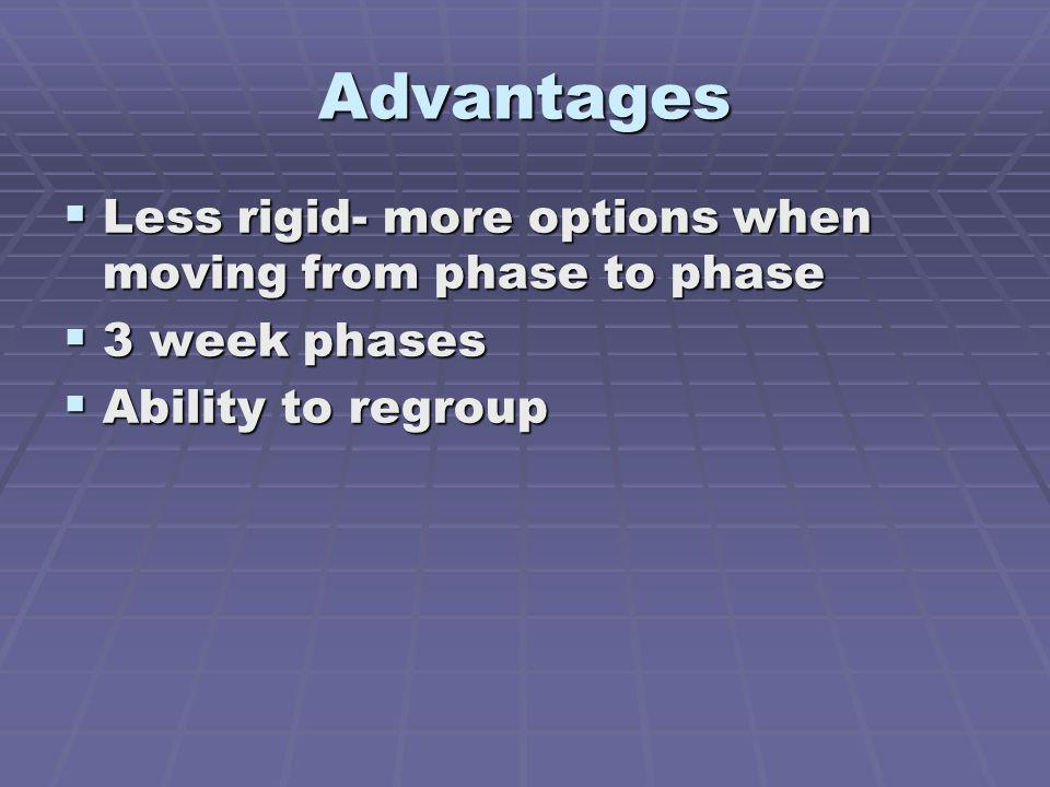 Advantages Less rigid- more options when moving from phase to phase
