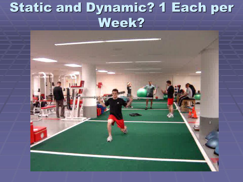 Static and Dynamic 1 Each per Week