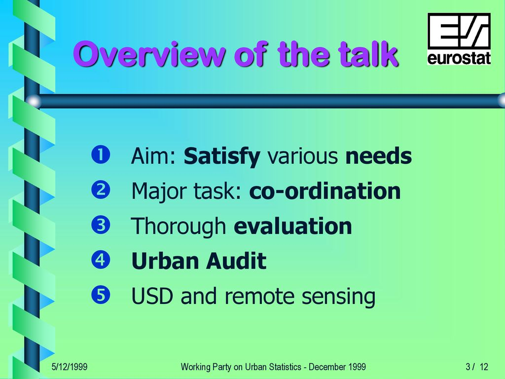 Urban Statistics: the next two years - ppt download