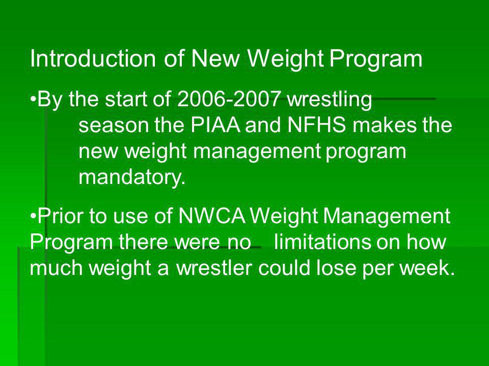 Introduction of New Weight Program