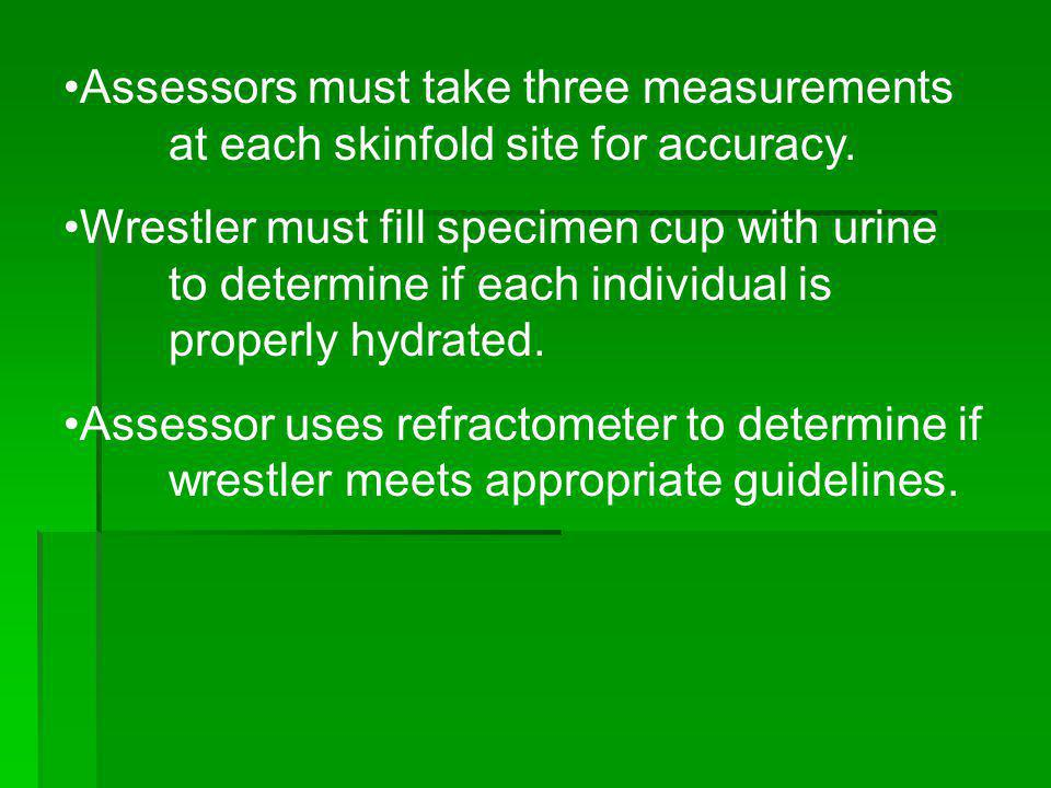 Assessors must take three measurements